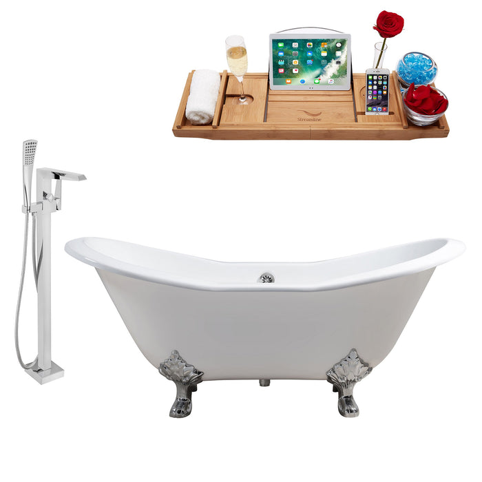 "Cast Iron Tub, Faucet and Tray Set 61"" RH5163CH-CH-100"