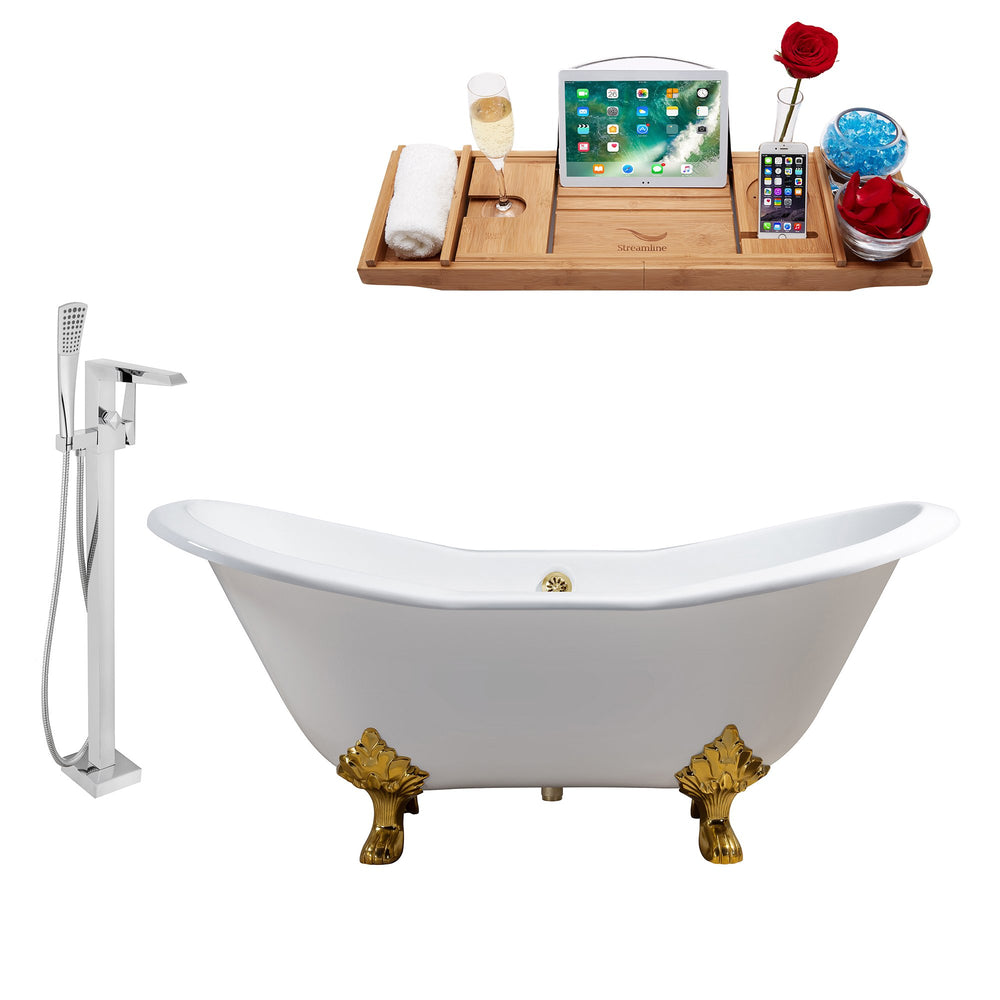 "Cast Iron Tub, Faucet and Tray Set 61"" RH5163GLD-GLD-100"