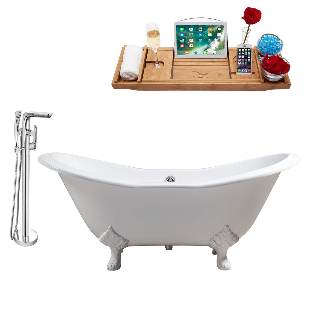 "Cast Iron Tub, Faucet and Tray Set 61"" RH5163WH-CH-120"