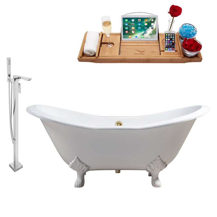 "Cast Iron Tub, Faucet and Tray Set 61"" RH5163WH-GLD-140"