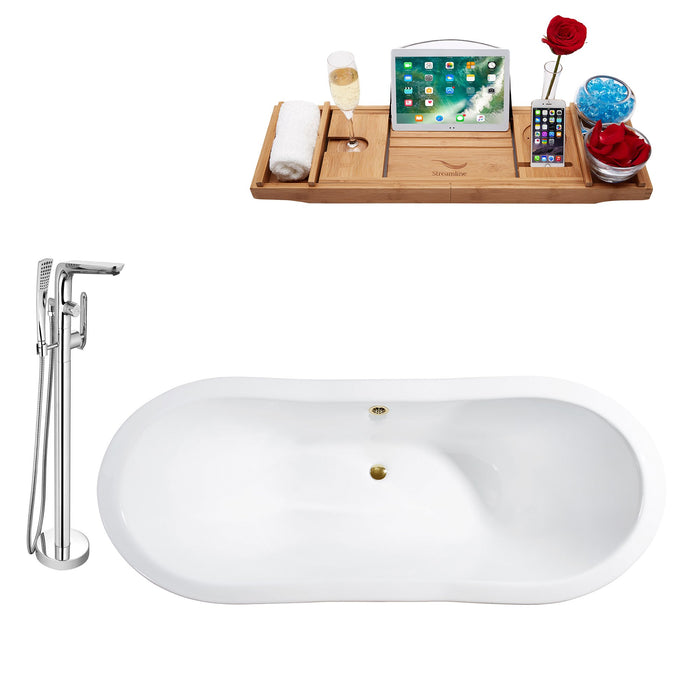 "Cast Iron Tub, Faucet and Tray Set 72"" RH5180GLD-120"