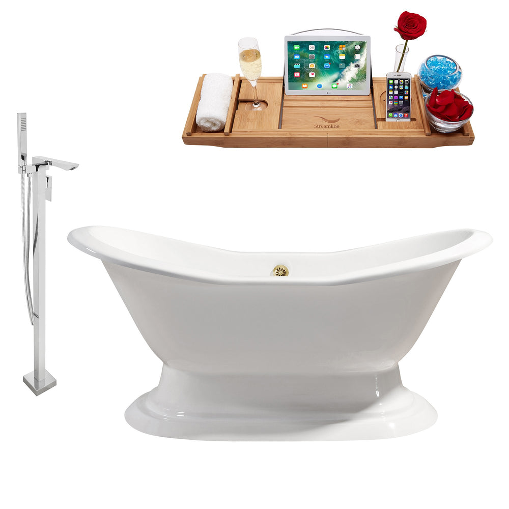 "Cast Iron Tub, Faucet and Tray Set 72"" RH5200GLD-140"
