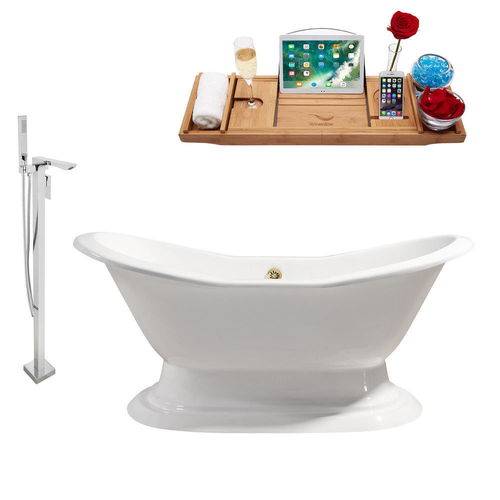 "Cast Iron Tub, Faucet and Tray Set 61"" RH5201GLD-140"
