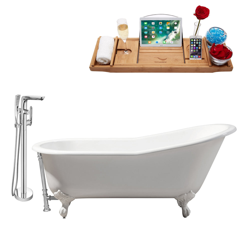 "Cast Iron Tub, Faucet and Tray Set 67"" RH5220WH-CH-120"