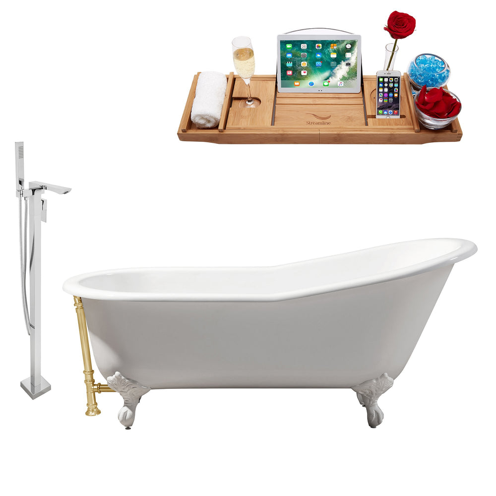 "Cast Iron Tub, Faucet and Tray Set 67"" RH5220WH-GLD-140"