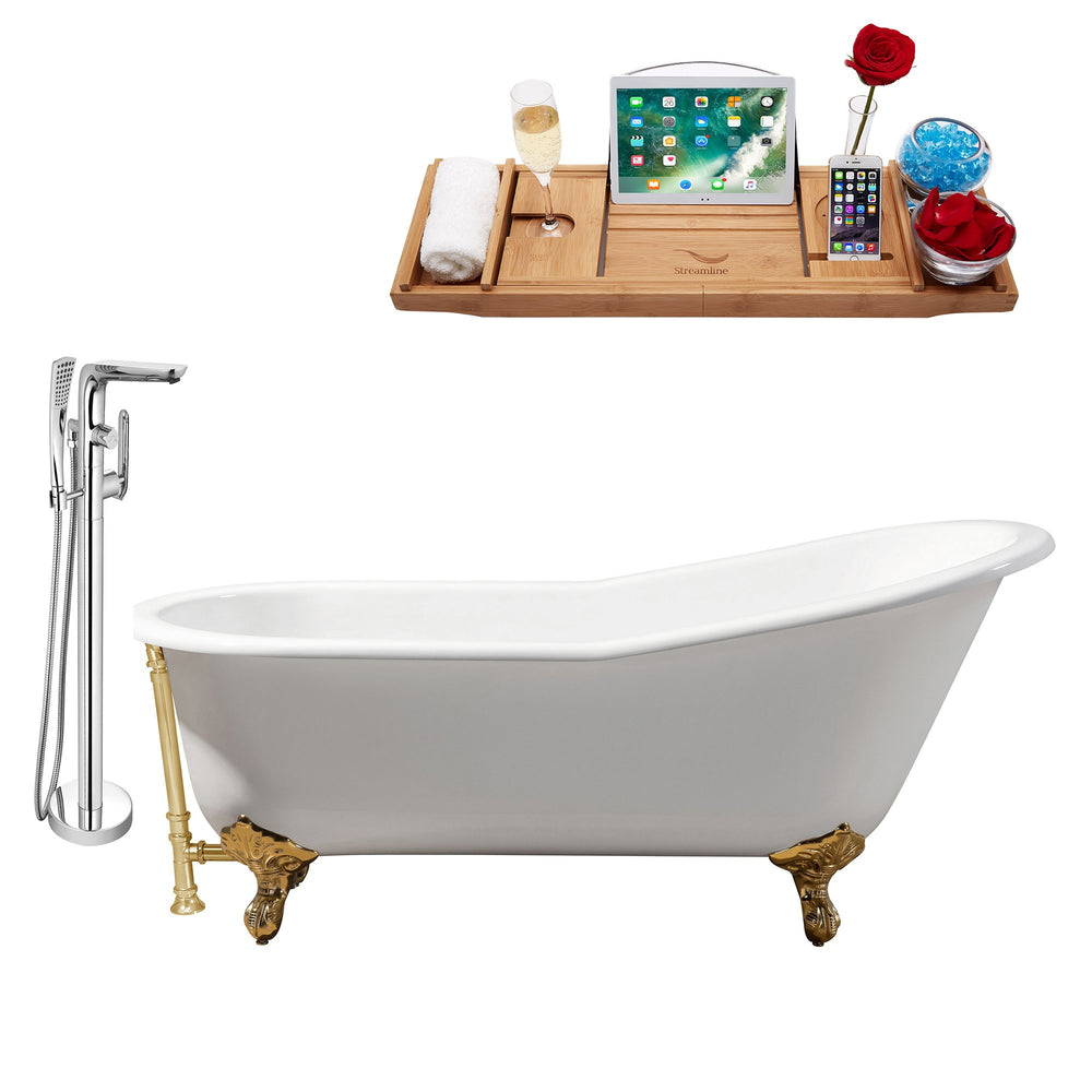 "Cast Iron Tub, Faucet and Tray Set 61"" RH5221GLD-GLD-120"