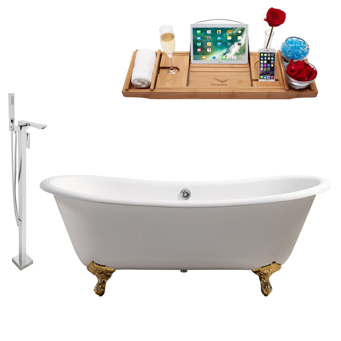 "Cast Iron Tub, Faucet and Tray Set 71"" RH5240GLD-CH-140"