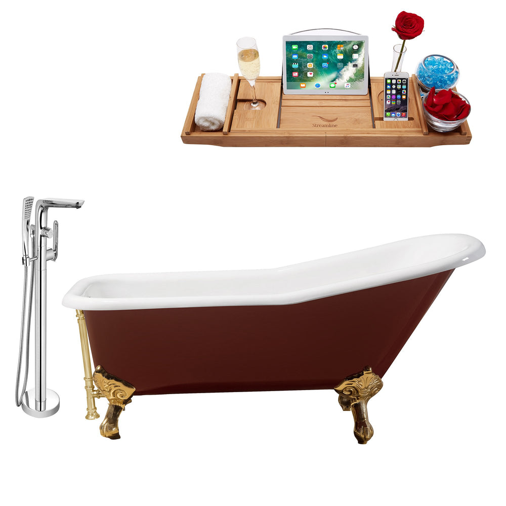 "Cast Iron Tub, Faucet and Tray Set 66"" RH5280GLD-GLD-120"