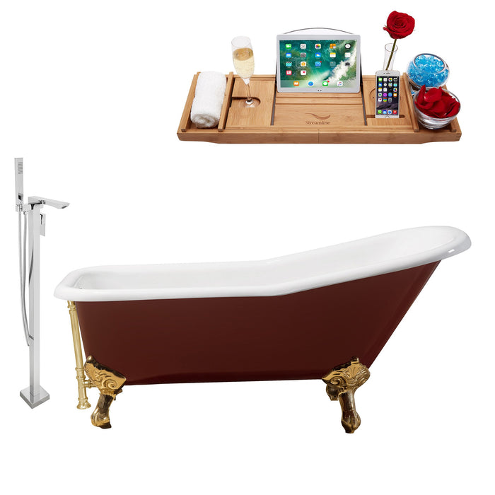 "Cast Iron Tub, Faucet and Tray Set 66"" RH5280GLD-GLD-140"