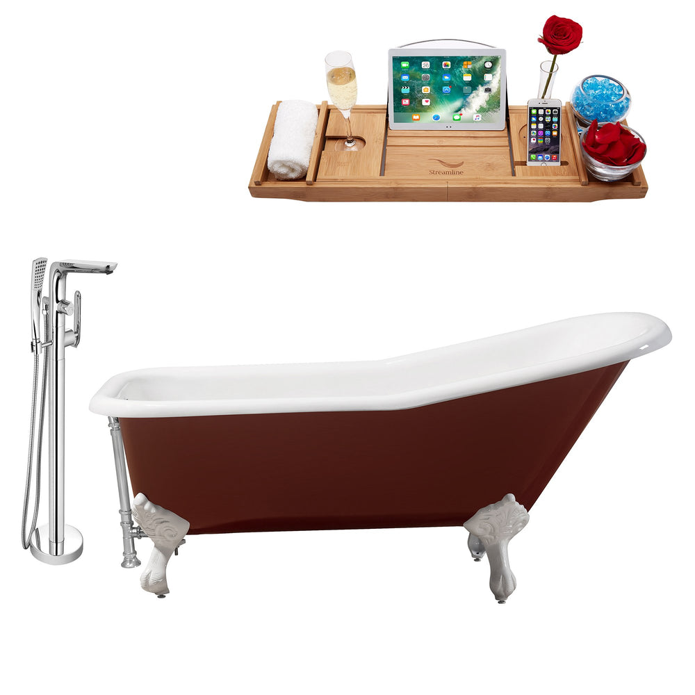 "Cast Iron Tub, Faucet and Tray Set 66"" RH5280WH-CH-120"
