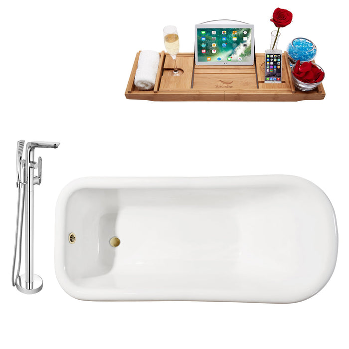 "Cast Iron Tub, Faucet and Tray Set 66"" RH5280WH-GLD-120"
