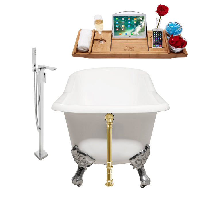 "Cast Iron Tub, Faucet and Tray Set 66"" RH5281CH-GLD-140"