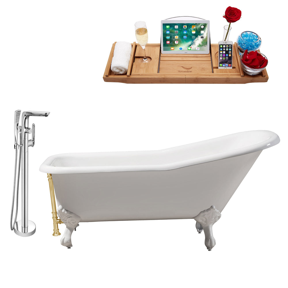 "Cast Iron Tub, Faucet and Tray Set 66"" RH5281WH-GLD-120"