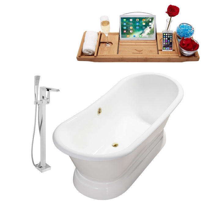 "Cast Iron Tub, Faucet and Tray Set 71"" RH5300GLD-100"