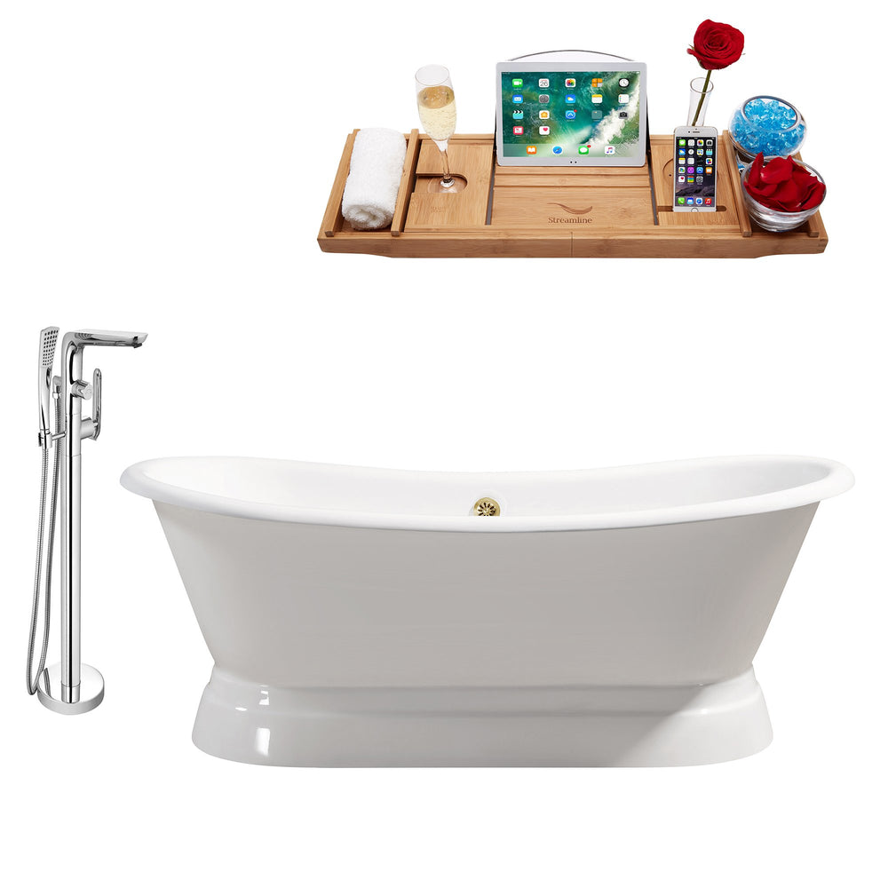 "Cast Iron Tub, Faucet and Tray Set 71"" RH5300GLD-120"
