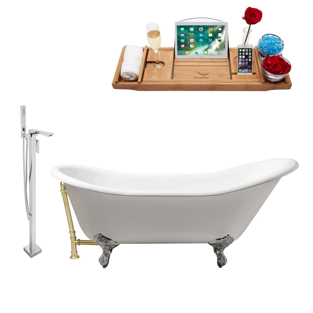 "Cast Iron Tub, Faucet and Tray Set 67"" RH5420CH-GLD-140"