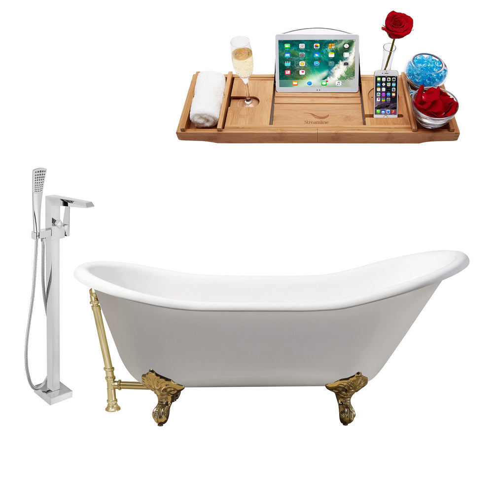 "Cast Iron Tub, Faucet and Tray Set 67"" RH5420GLD-GLD-100"