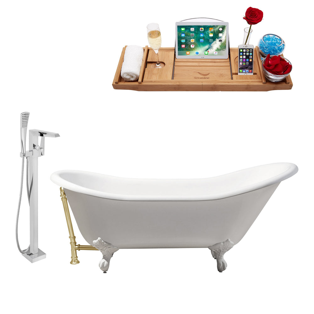 "Cast Iron Tub, Faucet and Tray Set 67"" RH5420WH-GLD-100"