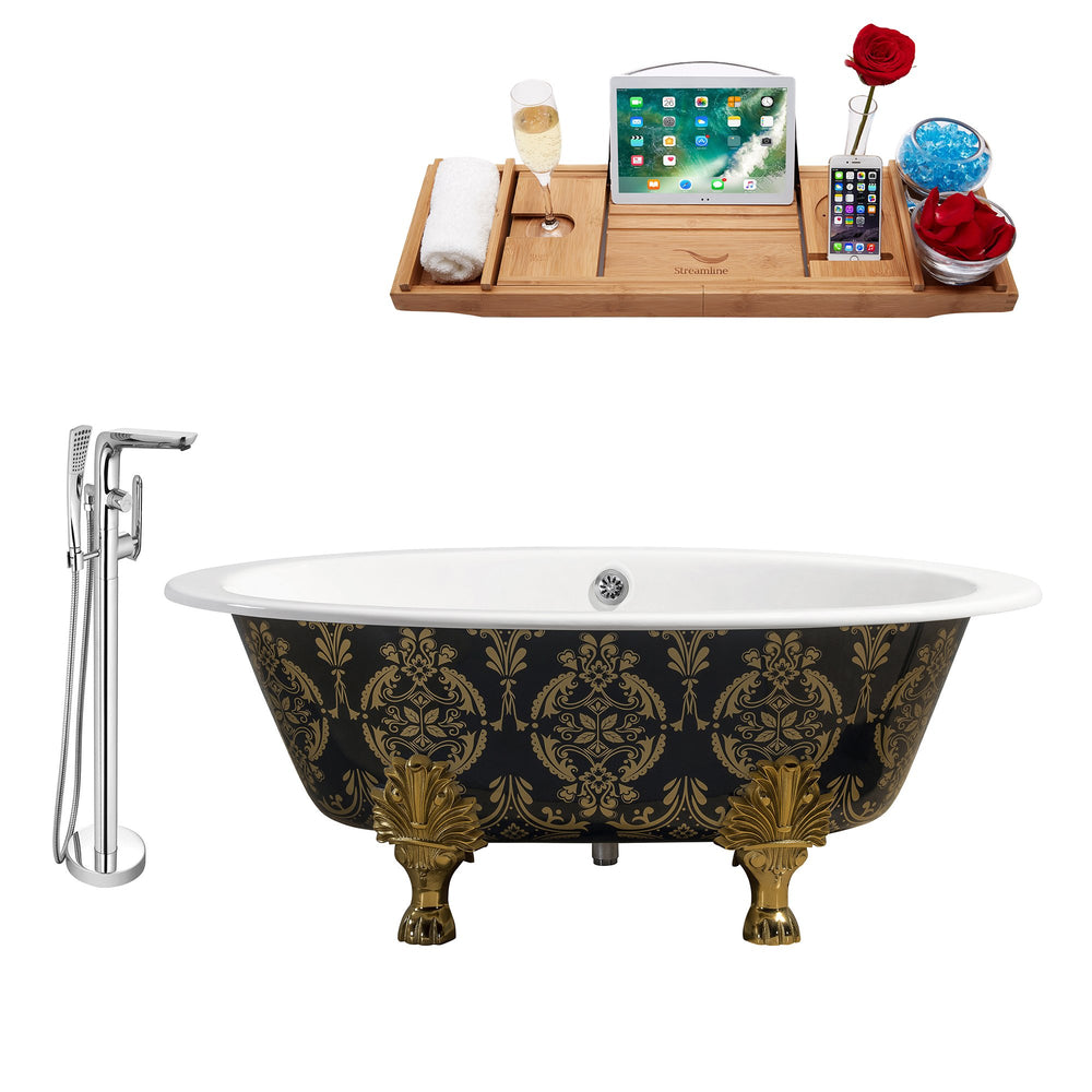 "Cast Iron Tub, Faucet and Tray Set 65"" RH5440GLD-CH-120"