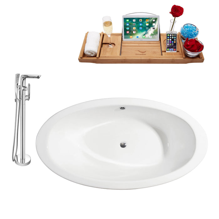 "Cast Iron Tub, Faucet and Tray Set 65"" RH5442CH-CH-120"