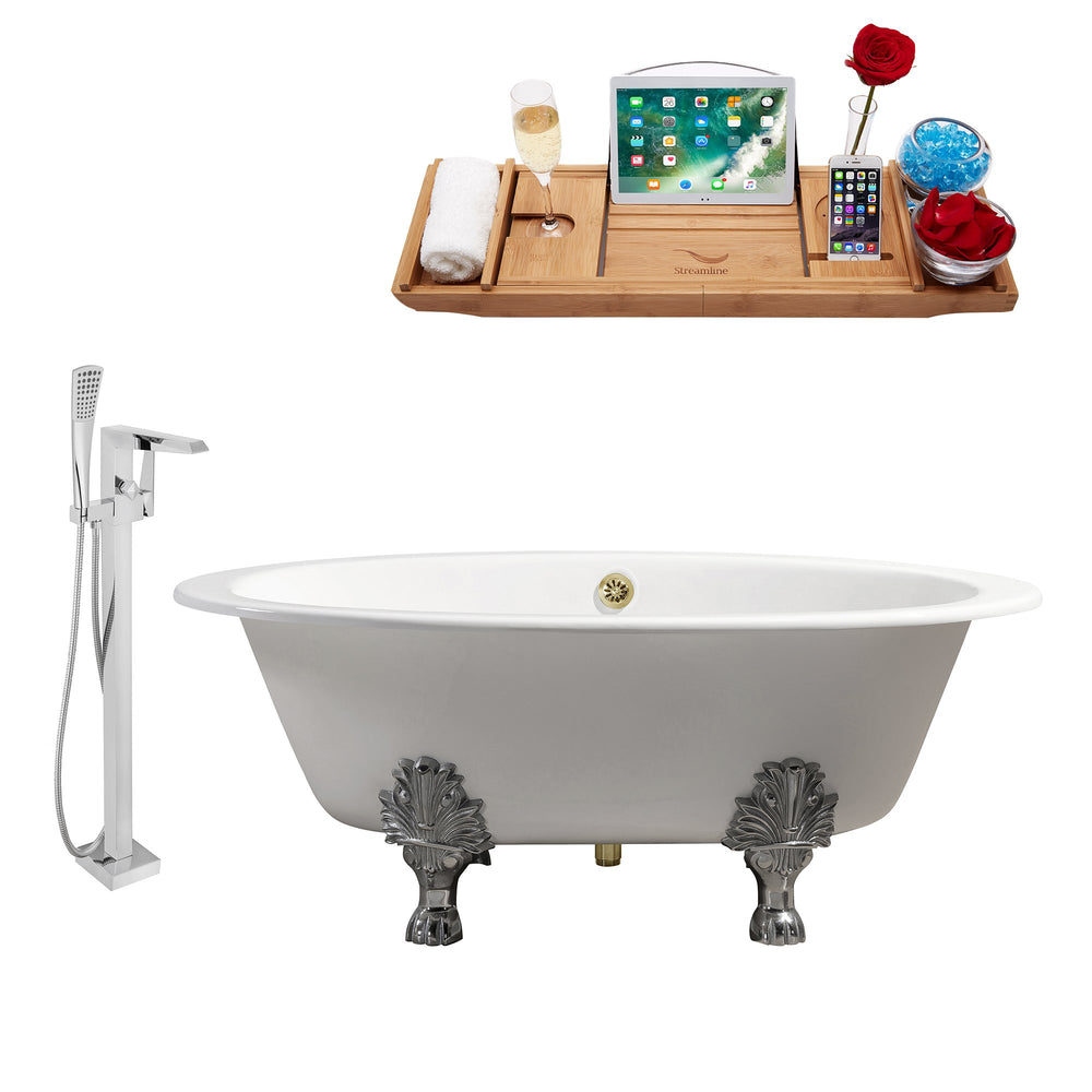 "Cast Iron Tub, Faucet and Tray Set 65"" RH5442CH-GLD-100"