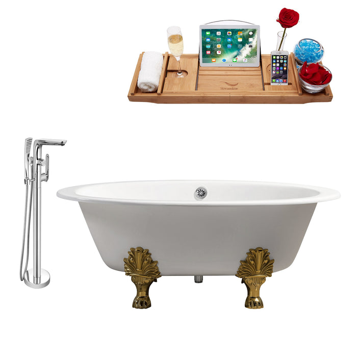 "Cast Iron Tub, Faucet and Tray Set 65"" RH5442GLD-CH-120"