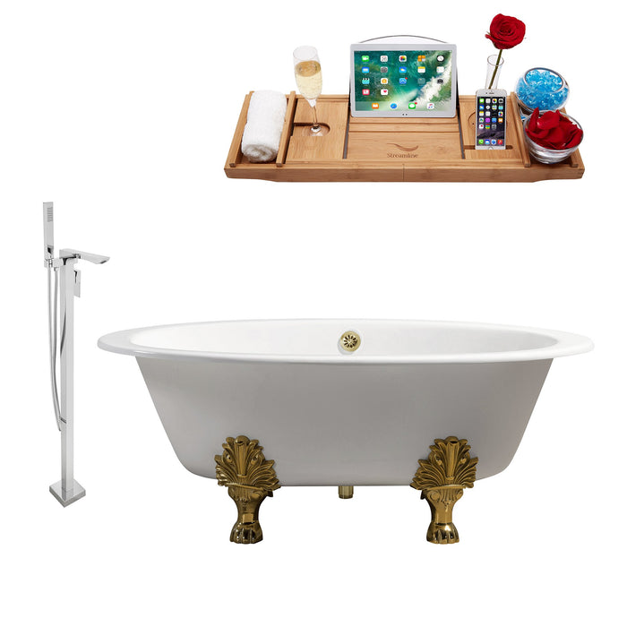"Cast Iron Tub, Faucet and Tray Set 65"" RH5442GLD-GLD-140"