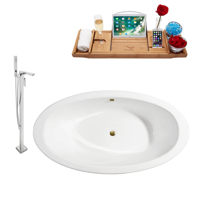 "Cast Iron Tub, Faucet and Tray Set 65"" RH5442WH-GLD-140"