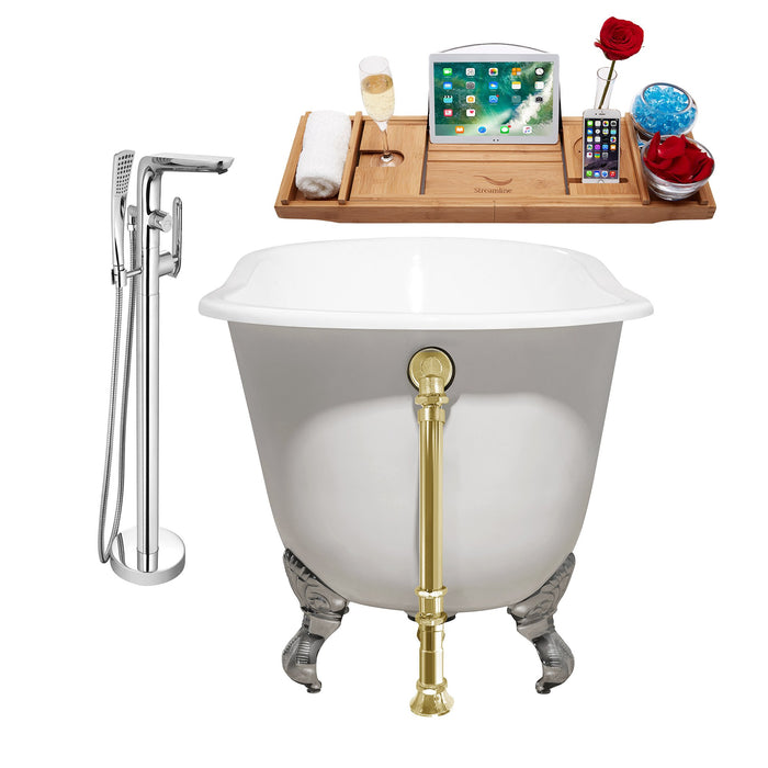 "Cast Iron Tub, Faucet and Tray Set 53"" RH5460CH-GLD-120"