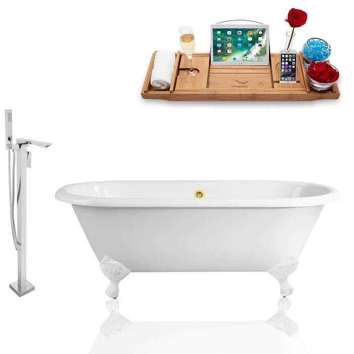 Tub, Faucet, and Tray Set Streamline 60'' Clawfoot RH5500WH-GLD-140