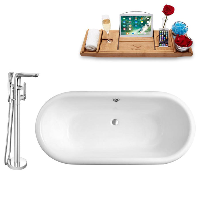 Tub, Faucet, and Tray Set Streamline 66'' Clawfoot RH5501CH-CH-120