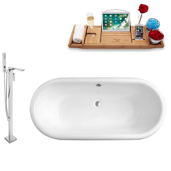 Tub, Faucet, and Tray Set Streamline 66'' Clawfoot RH5501CH-CH-140
