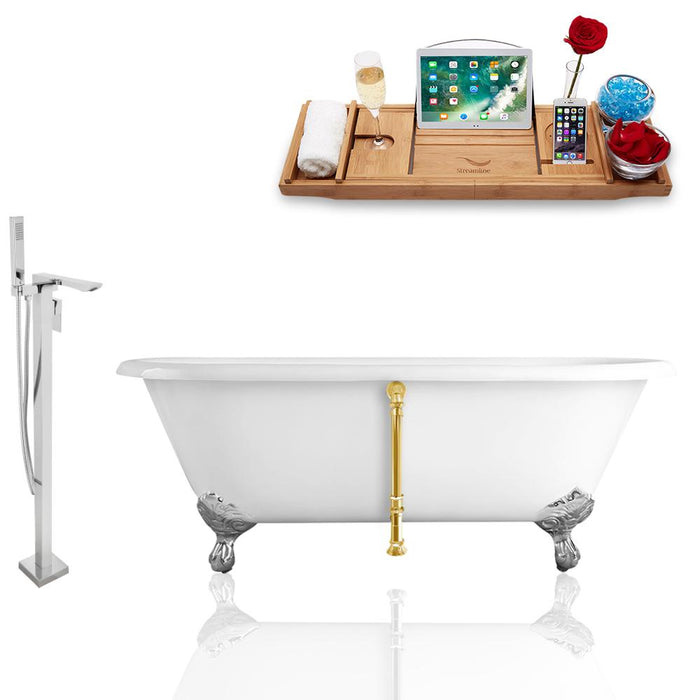 Tub, Faucet, and Tray Set Streamline 66'' Clawfoot RH5501CH-GLD-140