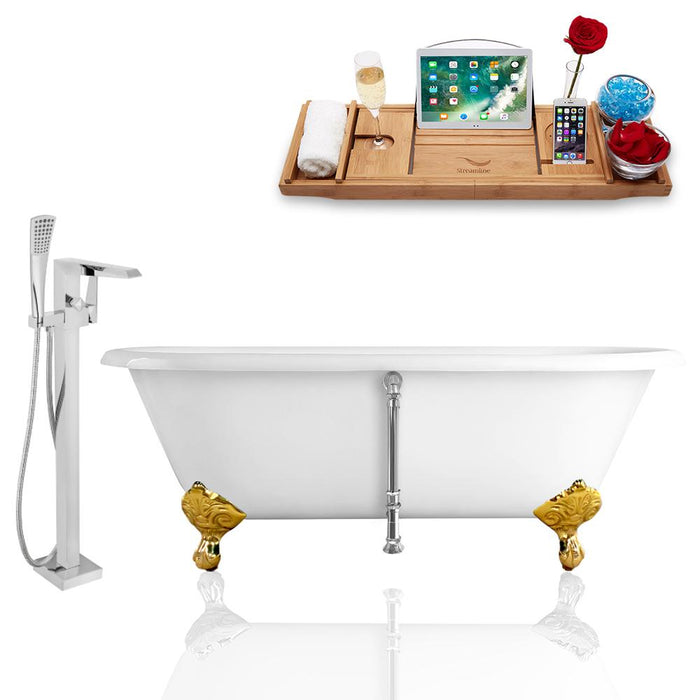 Tub, Faucet, and Tray Set Streamline 66'' Clawfoot RH5501GLD-CH-100