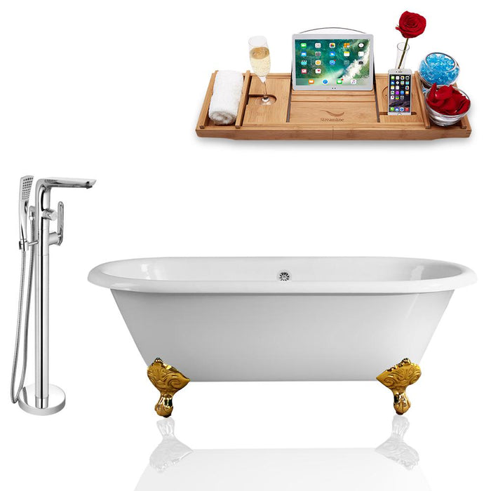 Tub, Faucet, and Tray Set Streamline 66'' Clawfoot RH5501GLD-CH-120