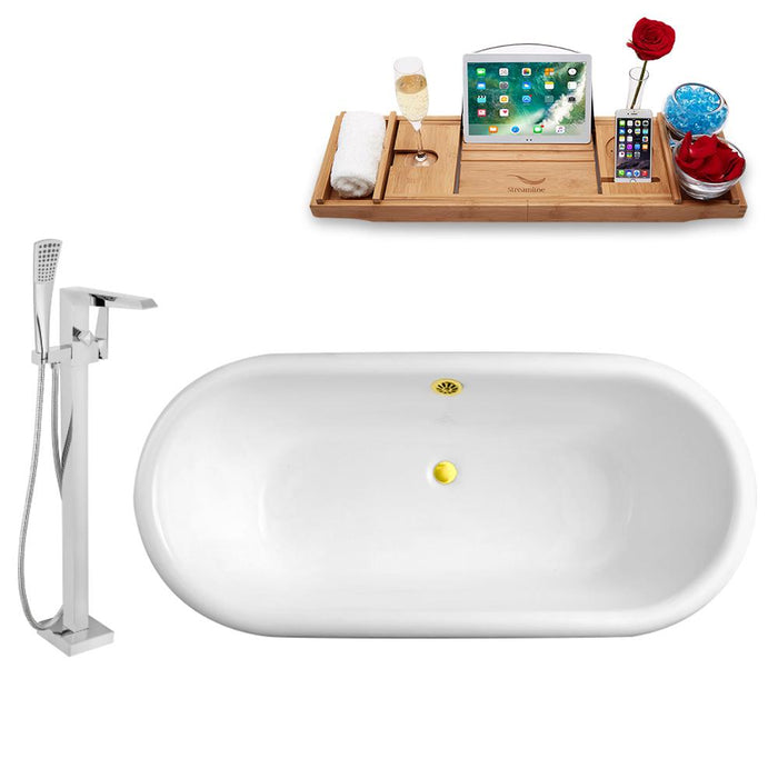 Tub, Faucet, and Tray Set Streamline 66'' Clawfoot RH5501GLD-GLD-100