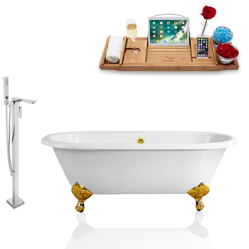 Tub, Faucet, and Tray Set Streamline 66'' Clawfoot RH5501GLD-GLD-140