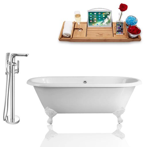 Tub, Faucet, and Tray Set Streamline 66'' Clawfoot RH5501WH-CH-120