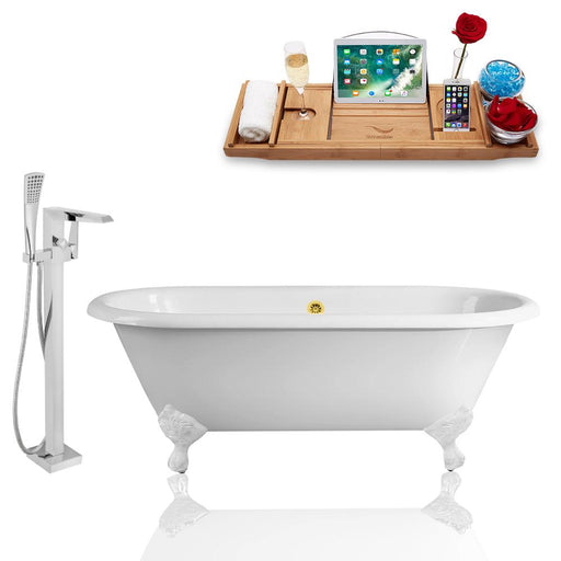 Tub, Faucet, and Tray Set Streamline 66'' Clawfoot RH5501WH-GLD-100