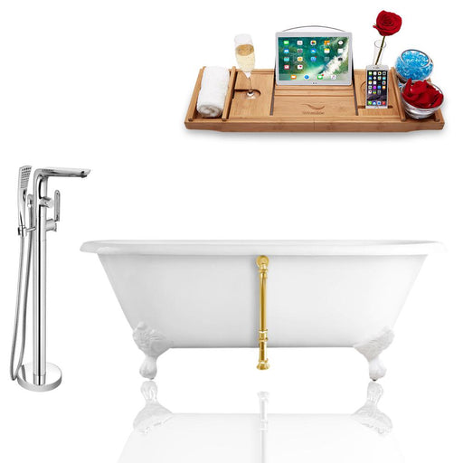 Tub, Faucet, and Tray Set Streamline 66'' Clawfoot RH5501WH-GLD-120