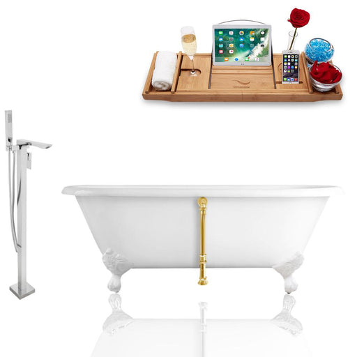 Tub, Faucet, and Tray Set Streamline 66'' Clawfoot RH5501WH-GLD-140