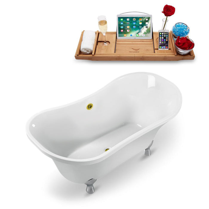 "60"" Streamline N920CH-GLD Clawfoot Tub and Tray With External Drain"