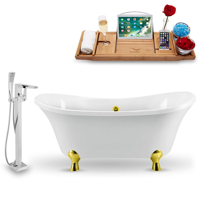 "Tub, Faucet and Tray Set Streamline 60"" Clawfoot NH920GLD-GLD-100"
