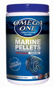 Omega One - Large Marine Pellets with Garlic Fish Food  20-oz jar
