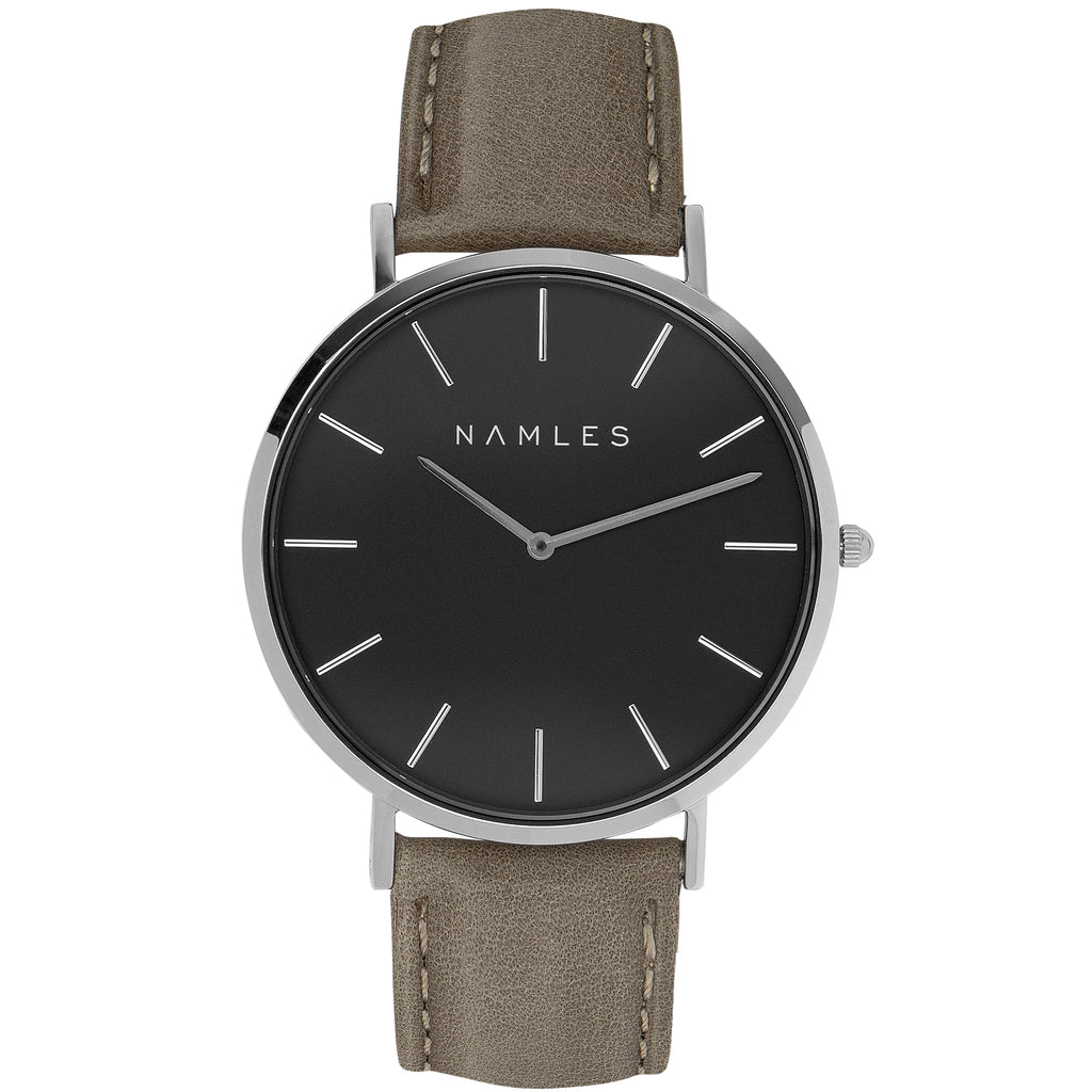 Leather Gray / Black Dial