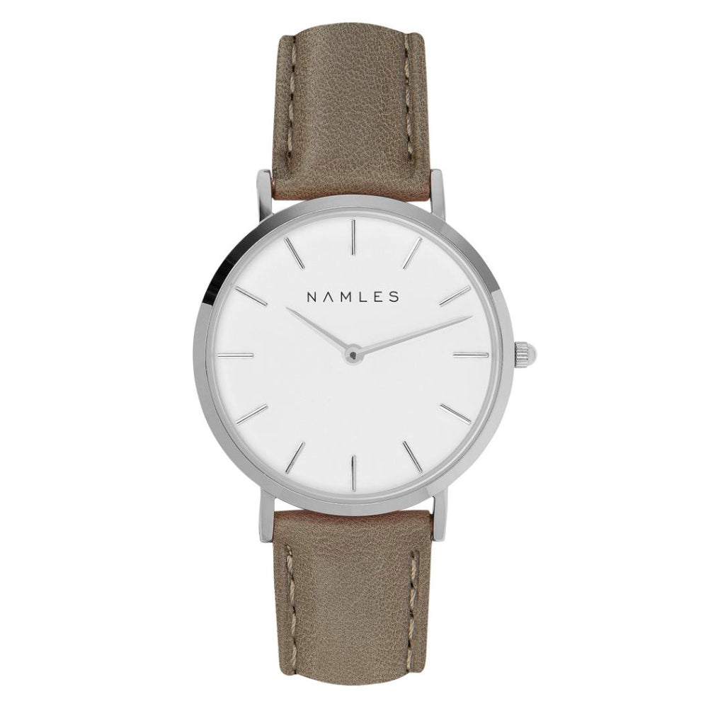 Leather Gray / White Dial