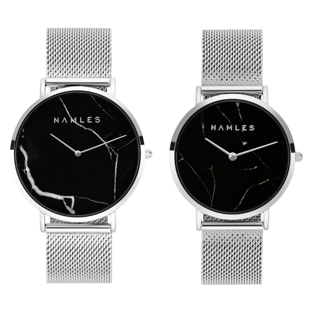 Couple Black Marble Mesh Black