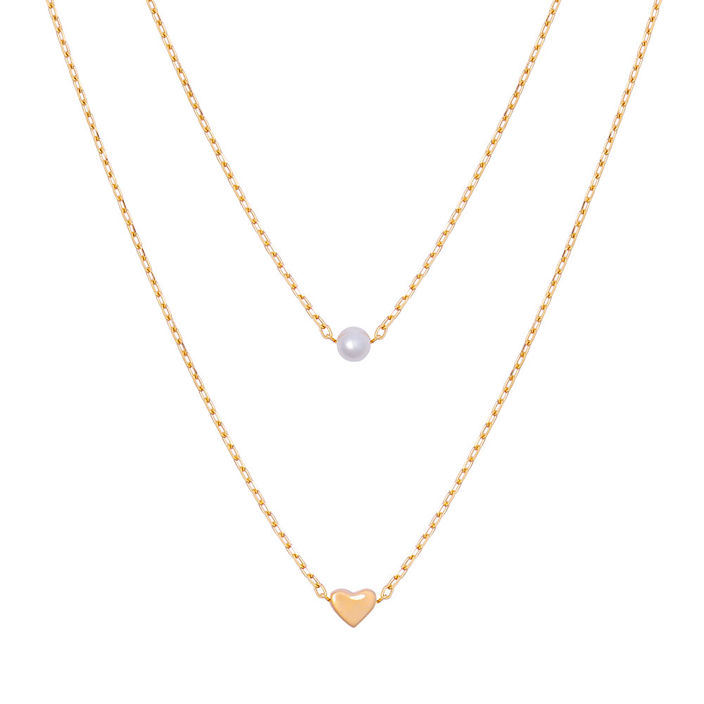 Pearl of Heart Layer Necklace
