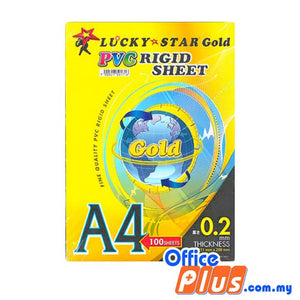 Lucky Star Gold A4 PVC Rigid Sheet 100'S - OfficePlus