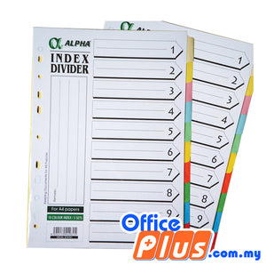 Alpha Index Divider with Hole - 10 colours/ 5 sets - OfficePlus.com.my